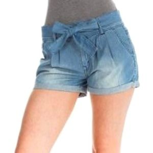 No Boundaries Soft Chambray Belted Shorts